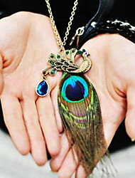 Jewelry,Necklace,Women's Peacock Feather Diamond Vintage Necklace