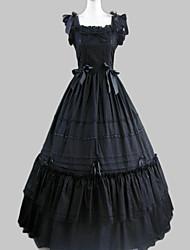 abordables -Princesse Gothique Robe à volants Satin Femme Robes Cosplay Noir Mancheron Long Les costumes