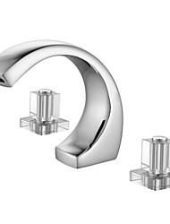 Moderne Udspredt Keramik Ventil Tre Huller To Håndtag tre huller for  Krom , Håndvasken vandhane
