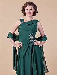 Women's Wrap Shawls Sleeveless Chiffon Dark Green Wedding Party/Evening Wide collar 39cm Draped Open Front