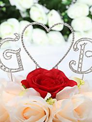 cheap -Cake Topper Classic Theme Hearts Monogram Wedding Anniversary Birthday Quinceañera & Sweet Sixteen with Rhinestone OPP