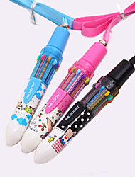 cheap -Cartoon Pattern 10 Colors Automatic Ballpoint Pen