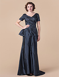 cheap -A-Line V-neck Floor Length Taffeta Mother of the Bride Dress with Criss Cross by LAN TING BRIDE®
