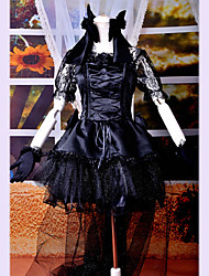 cheap -Gothic Lolita Dress Punk Lace Satin Women's One Piece Dress Cosplay Short Sleeves