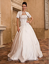 Ball Gown Strapless Floor Length Satin Wedding Dress with Beading Appliques by LAN TING BRIDE®