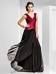 Sheath / Column V-neck Floor Length Tulle Formal Evening Military Ball Dress with Pleats Criss Cross by TS Couture®