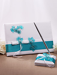 cheap -Guest Book / Pen Set Satin Floral ThemeWithBowknot