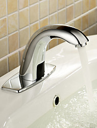 Contemporary Centerset Touch/Touchless Ceramic Valve One Hole Hands free One Hole Chrome , Bathroom Sink Faucet