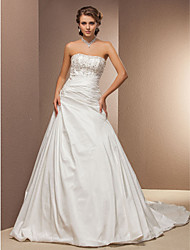 A-Line Strapless Chapel Train Taffeta Wedding Dress with Beading Appliques Side-Draped by LAN TING BRIDE®