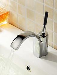 preiswerte -Moderne Mittellage Keramisches Ventil Ein Loch Einhand Ein Loch Chrom, Waschbecken Wasserhahn