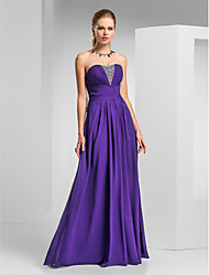 A-Line Strapless Sweetheart Floor Length Chiffon Prom Formal Evening Military Ball Dress with Beading Draping Criss Cross by TS Couture®