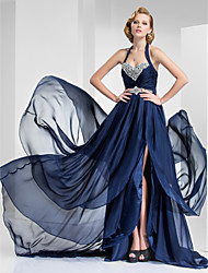 A-Line Princess Halter Sweetheart Court Train Satin Chiffon Evening Dress with Beading by TS Couture®