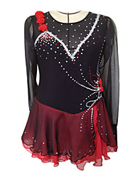 Figure Skating Dress Women's Girls' Ice Skating Dress Spandex Rhinestone Appliques Flower(s) Performance Practise Skating Wear Handmade