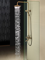 cheap -Antique Brass Tub Shower Faucet with 8 inch Shower Head + Hand Shower