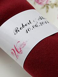Personnalisé Rond de Serviette Papier - Robe de mariée (Lot de 50)