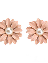 cheap -Lovely Pink Pearl/Ceramic Stud Earrings Little Daisy Flowers
