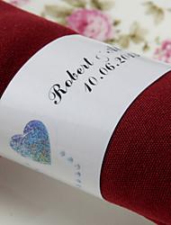 anneau de serviette en papier personnalisé - double coeurs (lot de 50) réception de mariage