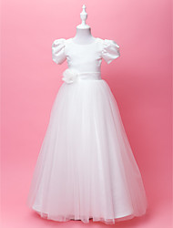 A-Line Princess Floor Length Flower Girl Dress - Satin Tulle Short Sleeves Jewel Neck with Draping by LAN TING BRIDE®