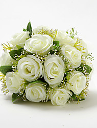 "Wedding Flowers Round Roses Bouquets Wedding Satin Cotton Ivory 9.84""(Approx.25cm)"