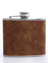cheap -Personalized Father's Day Gift Brown 5oz PU Leather Flask