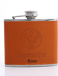cheap -Personalized Father's Day Gift Orange 5oz PU Leather Flask