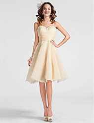 A-Line Princess Spaghetti Straps Sweetheart Knee Length Organza Homecoming Prom Dress with Beading by TS Couture®