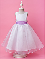cheap -A-Line Princess Floor Length Flower Girl Dress - Organza Satin Sleeveless Jewel Neck with Draping by LAN TING BRIDE®