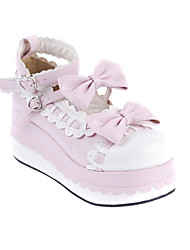 Lolita Shoes Sweet Lolita Princess Wedge Heel Shoes Bowknot 7 CM Pink White For PU Leather/Polyurethane Leather