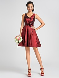 A-Line Princess V-neck Knee Length Taffeta Bridesmaid Dress with Draping Flower(s) Sash / Ribbon Criss Cross by LAN TING BRIDE®