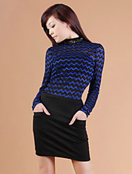 Zhi Yuan Slim Stand Collar Wave Mønster Lace Shirt (Flere farver)