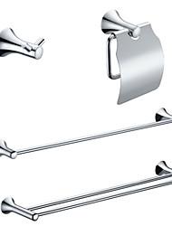 Недорогие -Латунь хромированная отделка ванной комнаты Наборы (Включая Robe крючки, держатели туалетной бумаги, 2 бара полотенце)
