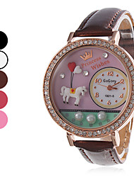 Women's Quartz Analog Horse Pattern Princess Wishes Word Watch Diamond Case PU Band Wrist Watch (Assorted Colors) Cool Watches Unique Watches