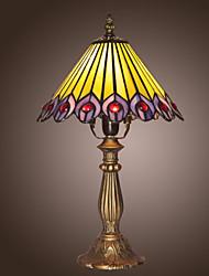 billiga -25W tiffany stil Bordslampa påfågel fjädrar konstruktion