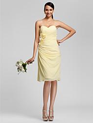 cheap -Sheath / Column Strapless / Sweetheart Neckline Knee Length Chiffon Bridesmaid Dress with Side Draping / Criss Cross / Flower by