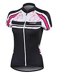 povoljno -SANTIC Žene Kratkih rukava Biciklistička majica - Crn Cvjetni / Botanički Bicikl Biciklistička majica, Quick dry, Anatomski dizajn,