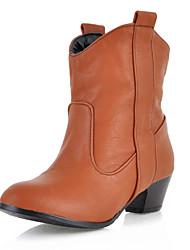 Damen Schuhe Kunstleder Frühling Herbst Winter Cowboystiefel / Westernstiefel Blockabsatz Booties / Stiefeletten Für Normal Schwarz Gelb