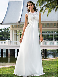 Sheath / Column Illusion Neckline Floor Length Chiffon Wedding Dress with Crystal Floral Pin Ruche by LAN TING BRIDE®