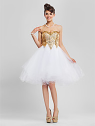 cheap -A-Line Ball Gown Princess Strapless Sweetheart Knee Length Tulle Cocktail Party Dress with Beading by TS Couture®