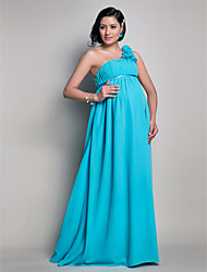 Sheath / Column One Shoulder Floor Length Chiffon Bridesmaid Dress with Draping Flower(s) by LAN TING BRIDE®