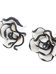 baratos -Brincos Curtos Liga Formato de Flor Rose Branco Jóias Para Diário