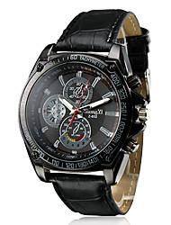 Men's Racing Design Black Dial PU Leather Band Quartz Wrist Watch Cool Watch Unique Watch