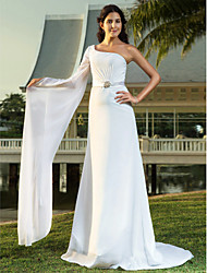 Sheath / Column One Shoulder Sweep / Brush Train Chiffon Wedding Dress with Sash / Ribbon Crystal Floral Pin by LAN TING BRIDE®