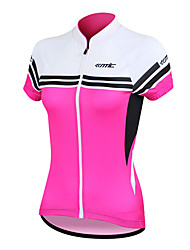 SANTIC Cycling Jersey Women's Short Sleeves Bike Jersey Tops Quick Dry Anatomic Design Ultraviolet Resistant Front Zipper Wearable High