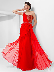 Sheath / Column One Shoulder Sweetheart Floor Length Chiffon Sequined Prom Dress with Beading by TS Couture®