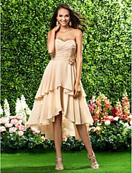 cheap -A-Line / Princess Strapless / Sweetheart Neckline Knee Length / Asymmetrical Chiffon Bridesmaid Dress with Draping / Criss Cross / Flower by