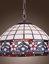 Недорогие -40w Тиффани подвеска свет с 1 свет в цветочный разработан бахромой