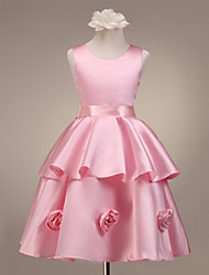 A-Line Princess Knee Length Flower Girl Dress - Satin Sleeveless Scoop Neck with Flower