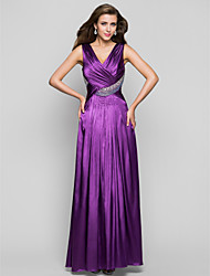 A-ligne v-neck floor length charmeuse robe de bal avec perles by ts couture®