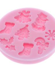 baratos -Ferramentas bakeware Silicone Amiga-do-Ambiente / 3D / Natal Bolo / Biscoito / Torta Desenhos Animados 3D Molde 1pç