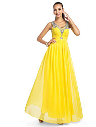 A-Line V-neck Floor Length Chiffon Prom Dress with Crystal by TS Couture®